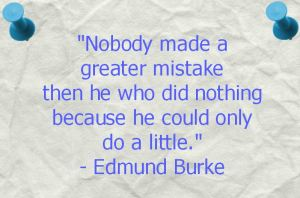 """Nobody make a greater mistake then he who did nothing because he could only do a little."" - Edmund Burke"