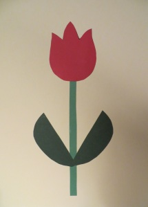 Red flower with a green stem