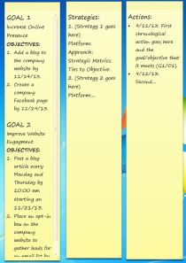 An example of Sticky Notes used for goal setting