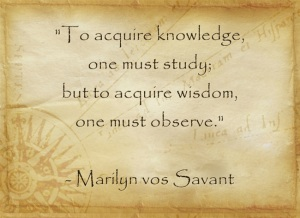 """To acquire knowledge, one must study; but to acquire widsom, one must observe."" - Marilyn vos Savant"