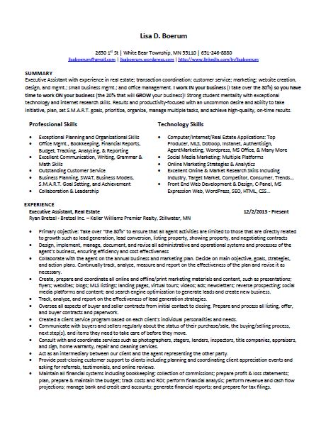 Lisa Boerum's Resume - Executive Administrative Assistant - Real Estate
